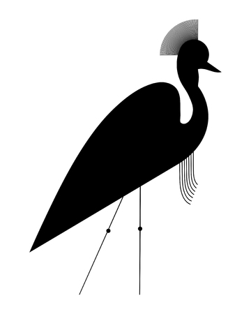 Silhouette of the Crowned Crane in a minimalistic style on white background Ilustração