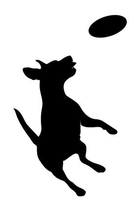 Silhouette of a dog jumping on white background Banque d'images - 109678577