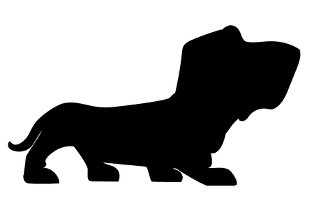 Silhouette of Basset-hound on a white background