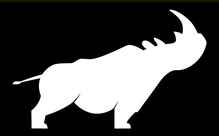 White silhouette of a rhino in a wary position on a black background