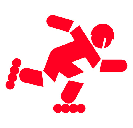 Roller in motion - red sign on a white background Banco de Imagens - 109797329
