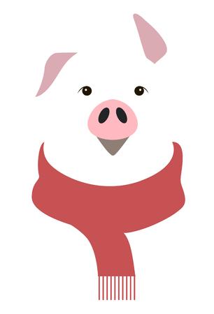 Year of the pig - animal sign on the Chinese zodiac. minimalist image on white background