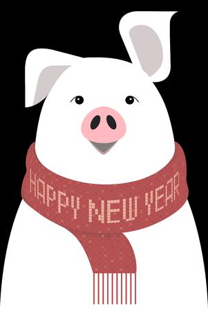 2019 year of the pig - animal sign on the Chinese zodiac. minimalist image on black background Ilustração