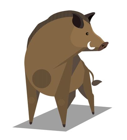 Golden wild boar - animal sign on the Chinese zodiac, minimalist image on white background Illustration