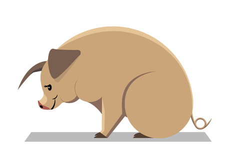 Yellow earth pig - animal sign on the Chinese zodiac, minimalist image on white background