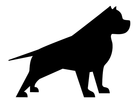 Pitbull silhouette, minimalist image on a white background