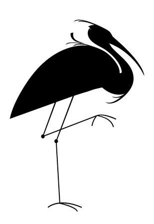 Silhouette of a heron on white background, minimalistic image