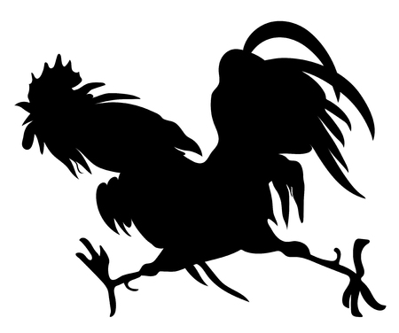 Silhouette of a running cock on white background