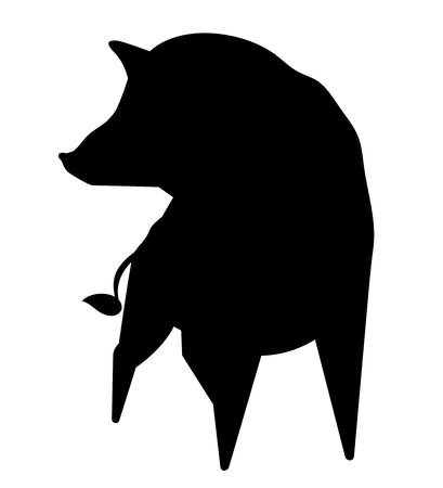 Wild Boar Silhouette - animal sign on the Chinese zodiac, minimalist image on white background Banco de Imagens - 115772577