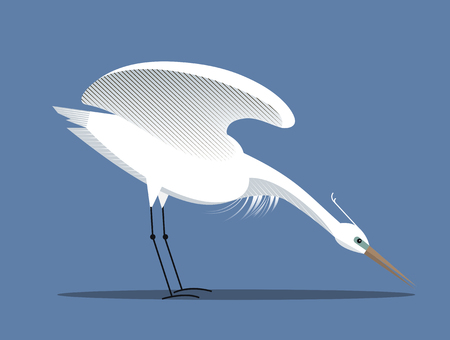 White egret spreads its wings, minimalist style