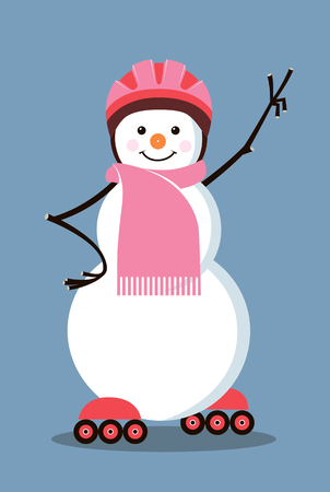 Snowman-roller raised his hand with victory sign, vector