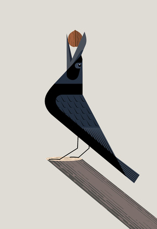 A black crow tries to crack a nut while sitting on a cut tree branch, minimalistic image Ilustração