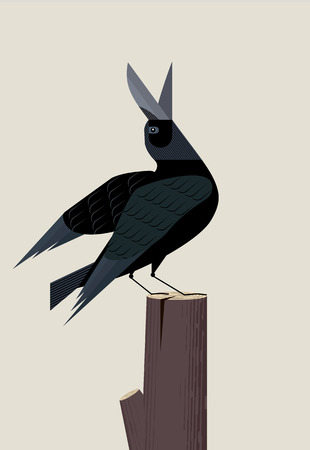 Black crow sits on a tree stump and sings inspired, minimalist image