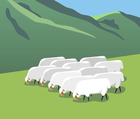 Un gregge di pecore pascola su un alpeggio, stile minimalista