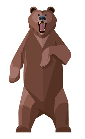 Angry Brown Bear attacking, standing on its hind legs, minimalist style Illustration