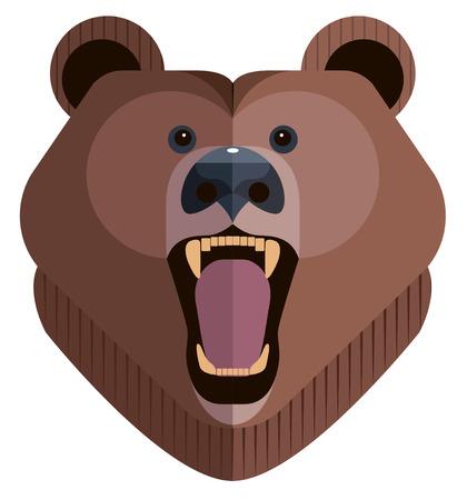 Roaring bear head, minimalist style