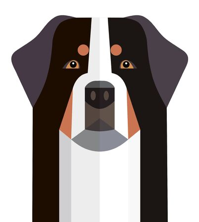 Head of the Bernese Mountain Dog minimalist image on a white background