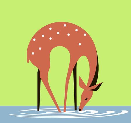 Graceful doe drinks water from a forest lake Ilustração