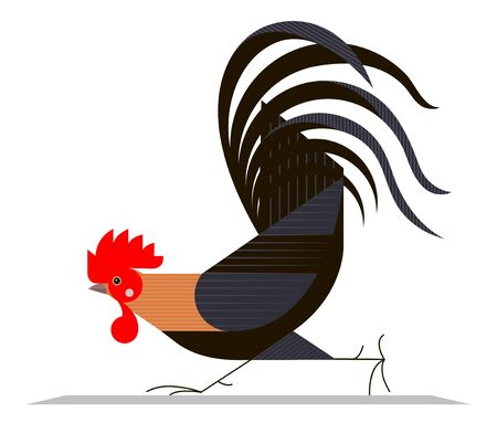 Running cock on a white background, minimalism Stock Illustratie