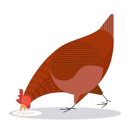 Chicken pecks grain on a white background, minimalistic image Illustration
