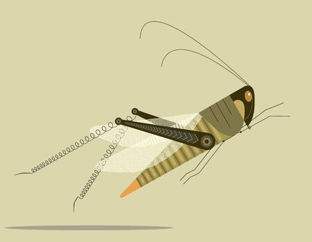 Grasshopper jump with springy hind legs on a light yellow background Ilustrace