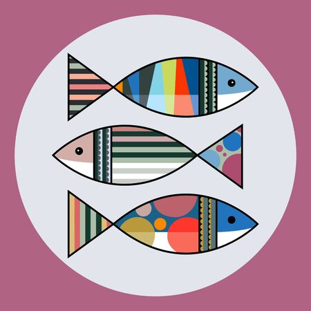 Colorful fish in a circle, decorative panel