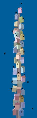 Multi-colored birdhouses built in the form of a skyscraper, minimalist style Illustration
