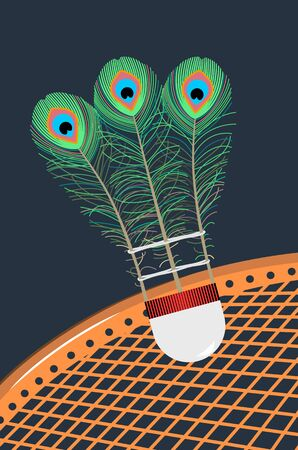 Metaphorical badminton shuttlecock with peacock feathers on a dark blue background and battledore