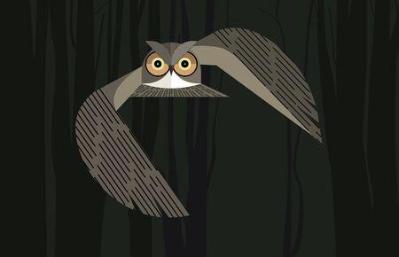Owl flies in the night forest on dark background