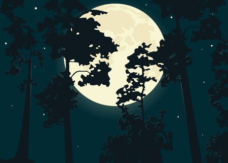 Pine trees against the background of the night sky in the full moon