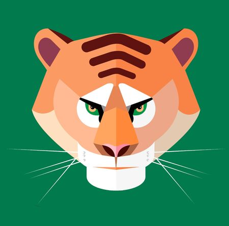 Tiger portrait on green background