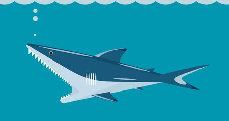 Shark with a huge toothy mouth on a sea background