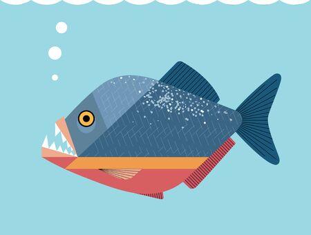 Beautiful but cruel piranha fish on a blue background, minimalistic image Ilustrace