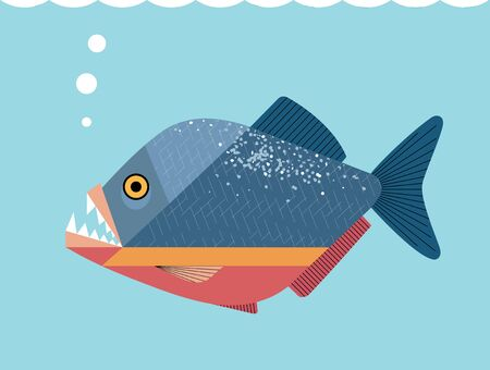 Beautiful but cruel piranha fish on a blue background, minimalistic image Illustration