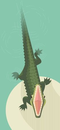 Crocodile attacks from the water, wide open mouth, minimalistic image