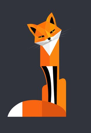 Red fox sits, coquettishly tilting his head to the side, stylized image