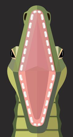 Portrait of a crocodile with wide open mouth on a dark background, stylized image Illustration