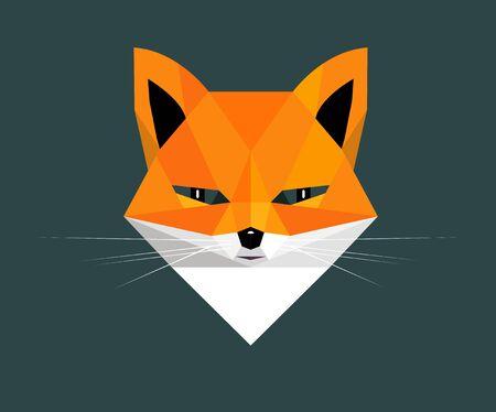 Fox portrait on a dark green background, stylized image Illustration