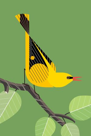 Bright yellow Oriole sings on a tree branch on a green background, stylized image Illustration