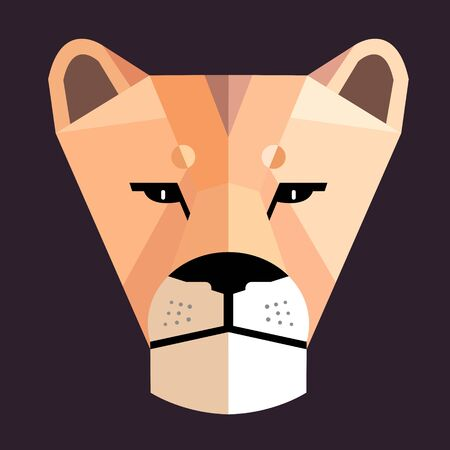 Lioness portrait on a dark background, stylized image Illustration