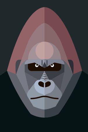 Gorilla portrait on a dark background, stylized image Illustration