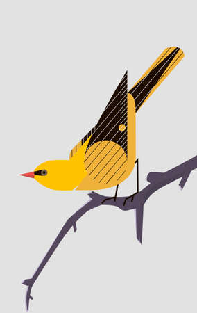 Yellow Oriole sitting on a tree branch on light gray background, stylized image
