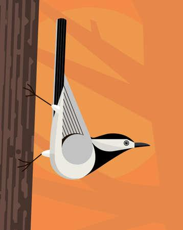White wagtail moves virtuously along the tree trunk, stylized image Illustration
