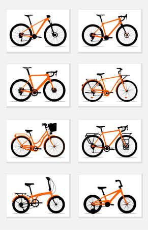 Orange and black silhouettes of bicycles: mountain, gravel, road, womens, urban, touring, folding, kids, icon set