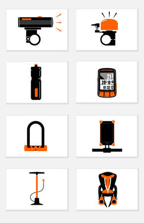 Bicycle accessories for comfortable and safe cycling, icons set isolated on white background