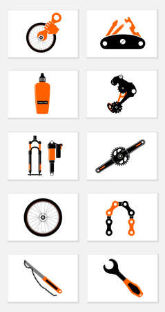 Bicycle repair tools for repair and maintenance bicycles icons set on white