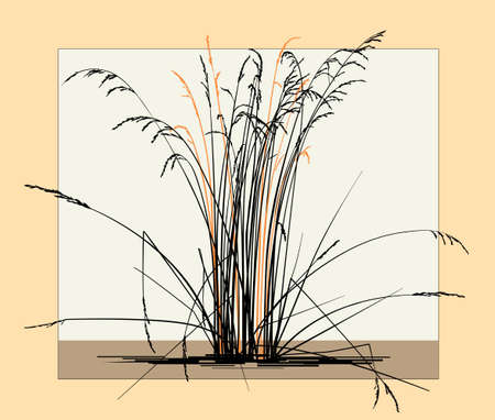 Silhouette of dry steppe grass on a light background. minimalist style Ilustrace
