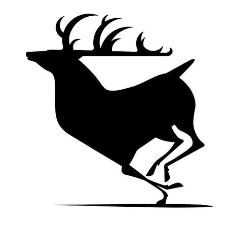 Running deer silhouette on white background