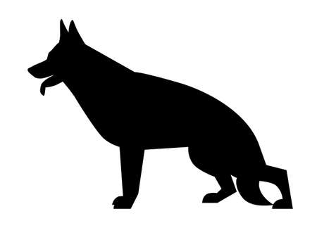 German Shepherd silhouette in a classic pose on a white background Illustration