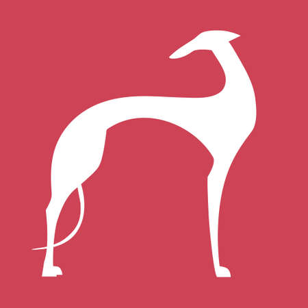 Greyhound dog silhouette on a red background